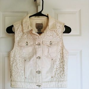 Guess distressed vest XS